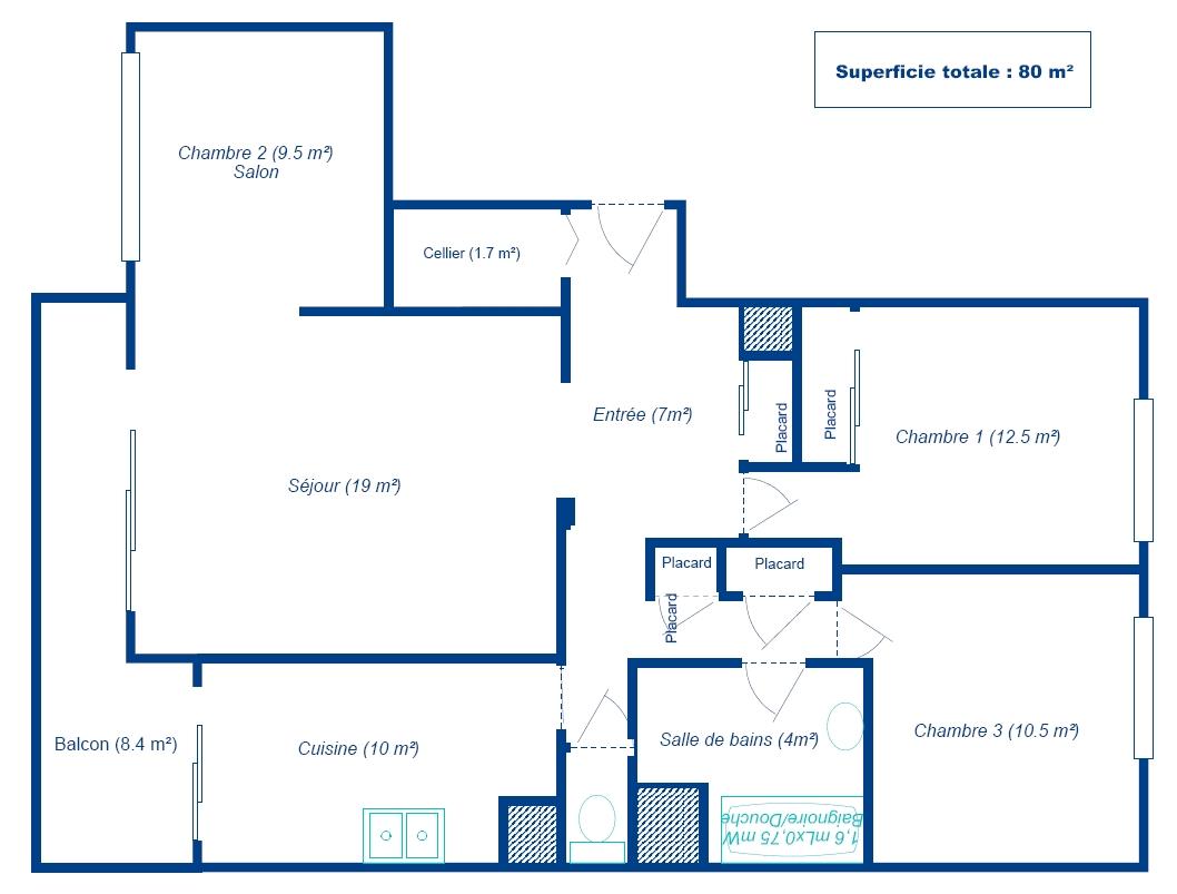 plan appartement echelle